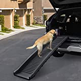 Sandinrayli Folding Pet Dog Ramp Car Ladder Stairs for Puppy Old Dogs Arthritis Joint Pain Portable Lightweight Dog and Cat Ramp with Non-Slip Surface, Durable Pet Ramp Supports up to 165lb, Black