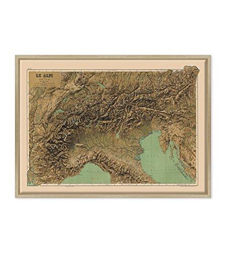 Afbeelding op canvas, ingelijst, met lijst, Italiaanse kaart, Le Alpi, Touring Club Italië, noord-montagekaart 50 x 70 cm, moderne stijl van natuurlijk hout