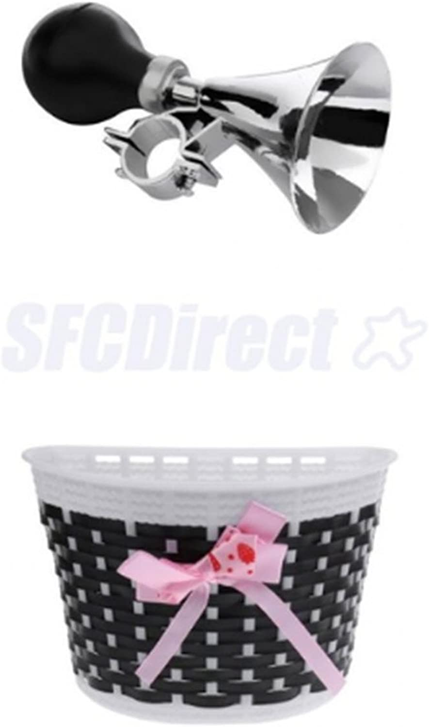 Scooter Bicycle Front Basket Bowknot Bike Shopping Holder, Classical Ring Horn Safety Kids Bike Alarm Bell Bike Accessory Black