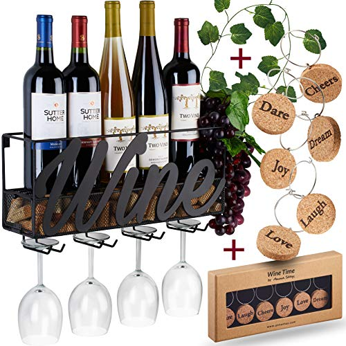 Wall Mounted Wine Rack With Glass And Cork Holder