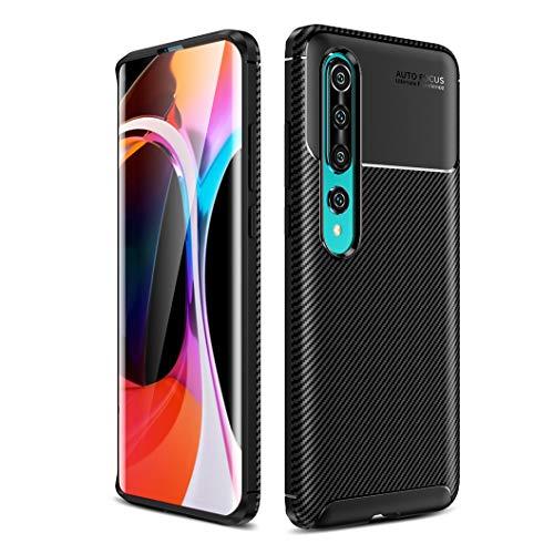 Oududianzi - Hülle für Xiaomi Mi 10/10 PRO 5G, [Kohlefaser-Textur] Robuste Rüstung Weich Schlank TPU-Silikon Case - Schwarz