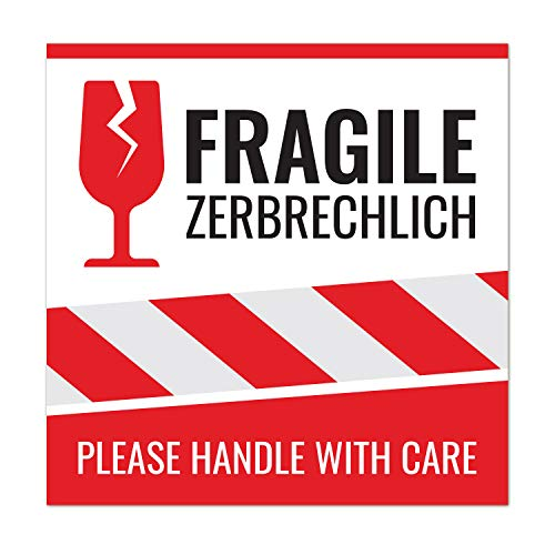 50 Aufkleber fragile, Vorsicht zerbrechlich, Achtung Glas, Bitte nicht werfen, 10,5x10,5cm – Please handle with care Etiketten