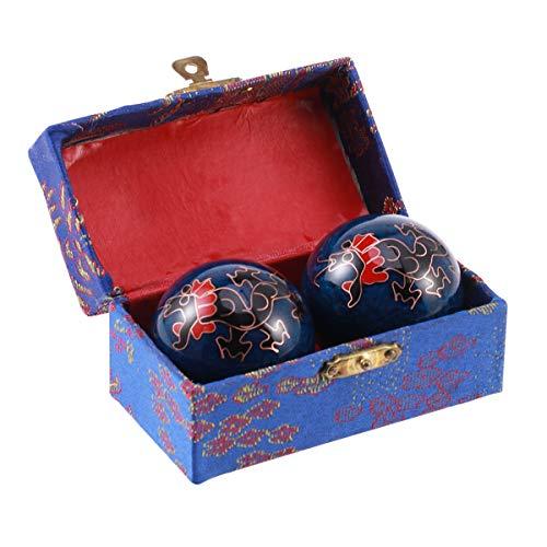 Healefty - 2 bolas de masaje para ejercicios de salud china, alivio del estrés, ejercicios de manos (dragones y fénixes negros)