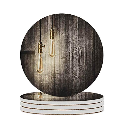 Industrial Decorative Coasters Electric Retro Absorbent Coasters with Cork Base for Home Decor Desk Tray or Coffee Table Decor