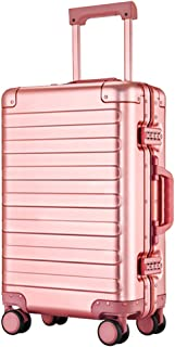 GLJJQMY Luggage Trolley Trolley Universal Wheel Aluminum Frame Suitcase 20 Inch Business Boarding Password Suitcase Trolley case (Color : Pink, Size : 20 inch)