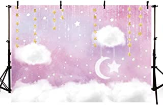 MEHOFOTO Sweet Pink and White Cloud Photo Studio Backdrop Props Princess Birthday Girl Baby Shower Party Decorations Hanging Gold Stars Twinkle Twinkle Little Stars Photography Background Banner 7x5ft