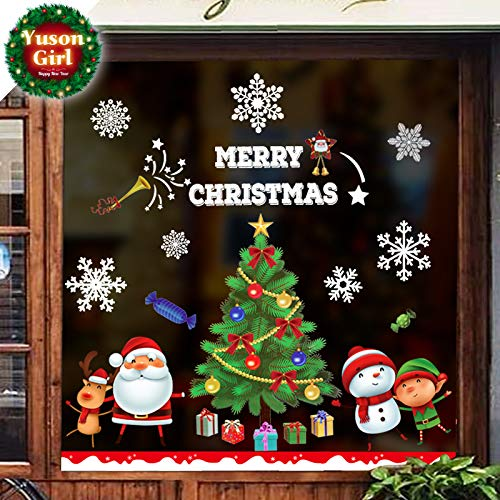 Yuson Girl Reusable Christmas Wall Window Stickers Clings Santa Claus Reindeer Elf Snowman Stickers Removable Door Cover Wall Decal Mural for Christmas Home Shop Store Window Decorations