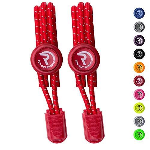 Run out sports elastische Schnürsenkel - Schnellschnürsystem ohne Binden -Schnürsenkel elastisch reflektierend mit Schnellverschluss - für Kinder und Erwachsene - Schuhbänder für Schuhe (rot)