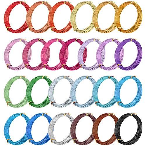 PandaHall 25 rollos de alambre de aluminio de color para manualidades de 1,2 mm de metal flexible artístico floral joyería de alambre para abalorios de 25 colores para bricolaje joyería y manualidades