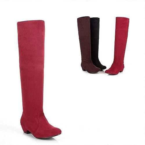 ZHRUI Stiefel para damen - Stiefel Altas Delgadas Stiefel para damen Stiefel de Caballero Tela elástica con Stiefel hasta la Rodilla Stiefel de Gran tamaño 35-43 (Farbe   rot, tamaño   42)