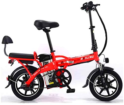 Leifeng Tower Alta Velocidad Bicicleta eléctrica Plegable de la batería de Litio de Coches en tándem for Adultos Bicicleta eléctrica Auto-conducción for Llevar 48V 350W (Color : Red, Size : 20A)