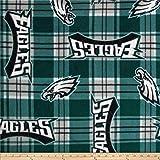 Fabric Traditions NFL Fleece Plaid Philadelphia Eagles Green Fabric By The Yard