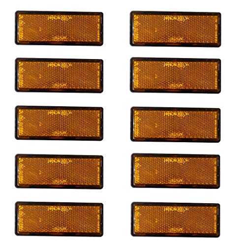 10 TLG. Universal Reflektor Katzenauge Rückstrahler für Auto LKW Motorrad, Rechteckig 35 x 88mm, Selbstklebend, Orange