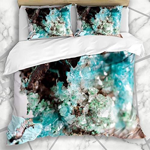 Conjuntos de funda nórdica Joya Piedra preciosa natural Azul vibrante Rosasita Calcita sobre cristal Espécimen Mineral Naturaleza industrial Microfibra suave Dormitorio decorativo con 2 fundas