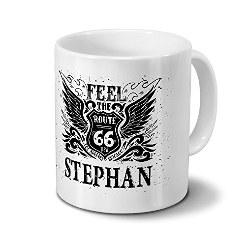 Tasse mit Namen Stephan - Motiv Route 66 - Namenstasse, Kaffeebecher, Mug, Becher, Kaffeetasse - Farbe Weiß