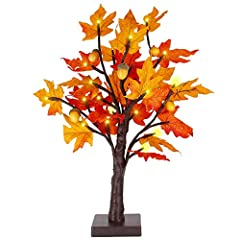 Lighted Maple Tree: Overall height 18 Inch with 24 led warm white light, 24pcs maple leaves,6pcs pine cone for home decoration. Battery Operated with Timer: Powered by 3 AA Batteries, battery not include. Convenient to set them in timer to 6 hours au...