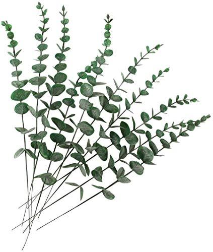 Chenguo10 PCS Real Touch Leaf Künstlicher Eukalyptusstamm Faux Eukalyptus Hochzeitsstrauß Herzstück Home Decor (Grün)