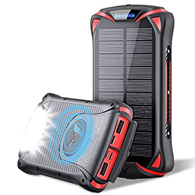 Aikove Wireless Portable Charger 10W 30000mAh PD 18W Solar Power Bank, QC 3.0 External Battery Pack with 3 Inputs and 4 Outputs(Qi & USB C) Super Flashlight, Waterproof Quick Phone Charger for Outdoor