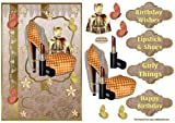 Pintalabios y zapatos Tarjeta de decoupage frente por Sandra Carlse