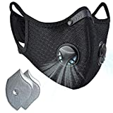 Dust mask with Filter,Sports Face Mask, 2 Filters and 2 Valves Included,Replaceable Filters and Washable Masks for Running, Cycling, Skiing Motorbikes, Outdoor Activities(Black with Logo)