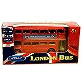 London Double Decker Red Bus Mini Model con tiri indietro e azione Go Made in metallo pressofuso e parti in plastica