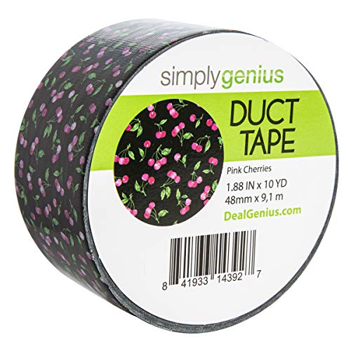 Simply Genius (Single Roll) Patterned Duct Tape Roll Craft Supplies for Kids Adults Colored Duct Tape Colors, Pink Cherries