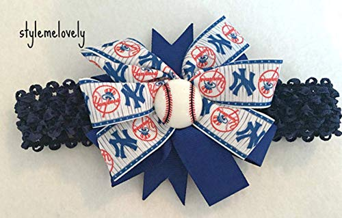 New York Yankees Baby Girl Boutique Bow Crocheted Headband Fits Newborn to Adult