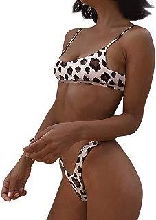 iTLOTL Women Sexy Fashion Leopard Print Push-Up Padded Bra Beach Bikini Set Swimsuit