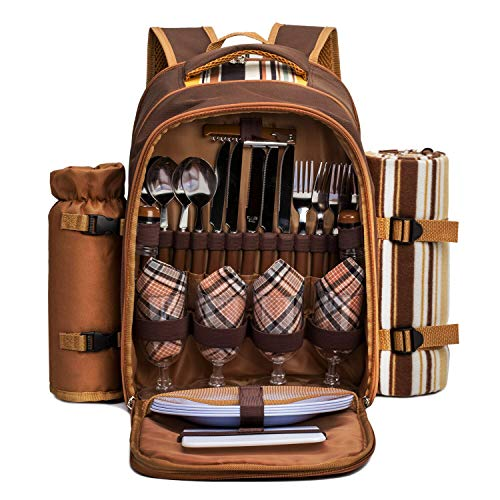 apollo walker Picnic Backpack Bag for 4 Person with Cooler Compartment,Wine Bag, Picnic Blanket(45'x53'),Best for Family and Lovers Gifts (Brown)