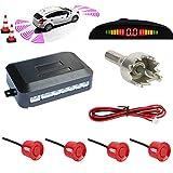 TKOOFN Universal KFZ Radar Aparcamiento Sensor Alarma Acustica Indicador LUZ Kit LED Marcha Atras (4 Unidades Rojo)