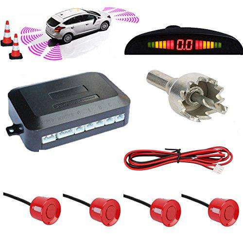 TKOOFN KFZ Summer Einparkhilfe Rückfahrhilfe 4 hinten Sensoren Hinter mit LED Farb Display Auto Parken Sensor System Pieper Radar Kit für Hinter Rot