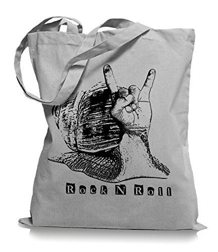 Ma2ca® Rock n Roll Slug - Jutebeutel Stoffbeutel Tragetasche/Bag WM101-light_grey