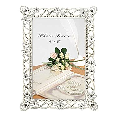 L&T Metal Picture Frame Silver Plated with Pearly White Flowers and Crystals, for 4 x 6 Inch Photo