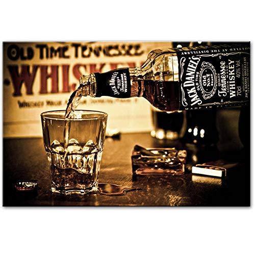 XQWZM Jack Daniels Getränke Wandplakate und Drucke, Moderne Leinwandbilder Gemälde auf Leinwand Bar dekorative Bilder, für Wohnkultur 40X60Cm