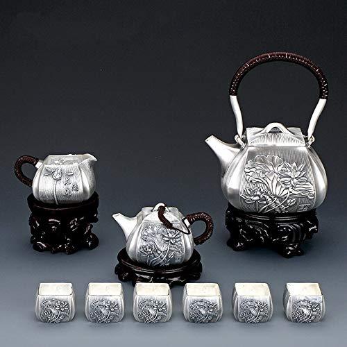 HMXCC 9pcs Set de té de plata S999 Juego de té de plata de ley Copa de té de plata Festival Kung Fu Juego de té