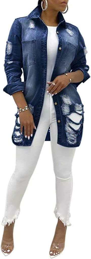 Women Denim Jackets Distressed Long Sleeve Ripped Fray Raw Stretch Vintage Washed Button Down Classic Destroyed Jean Coat
