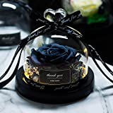 DKFS Fleur Rose en Verre Fiole Immortelle en Verre Noir