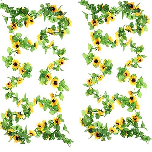 2pcs Guirnalda de Girasoles Flores Artificiales de 2.6m Vid de Girasoles Plastico con Hojas Verdes Artificial de Girasol para Decoracion de Boda Casa Fiesta Pared Jardín