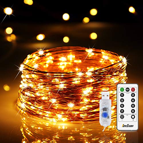 120 LEDs Fairy Lights USB Plug in 12m/40ft String Lights 8 Modes Twinkle Firefly Lights USB Powered for Home Indoor Bedroom Party Wedding Christmas Tapestry Decorations, Warm White