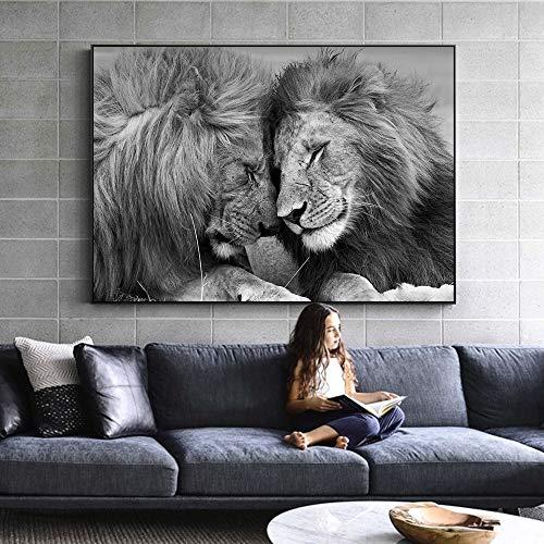 XCSMWJA Leones Enclavados Juntos Pinturas sobre Lienzo En La Pared Carteles E Impresiones Cuadros En Blanco Y Negro Imágenes De Animales Animales Impresiones 70 * 100Cm