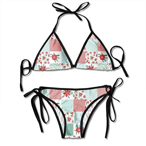 Conjunto de Bikini Push up Acolchado con jardín de Flores y celosía,...