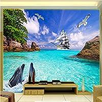 3D壁紙ポスター海のイルカカスタム大規模な壁紙の壁紙3Dテレビの背景リビングルームの写真の壁紙3Dルームの壁紙-450X300cm
