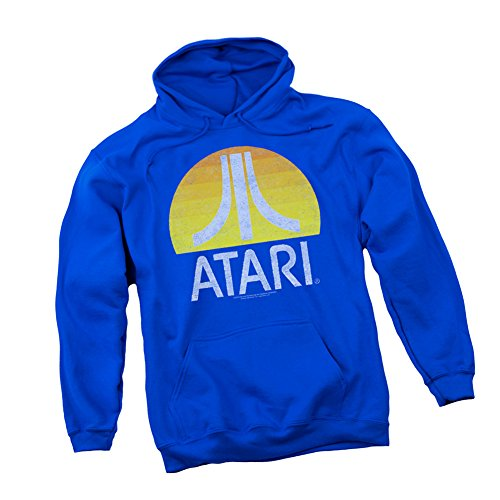 Atari Sunrise Distressed Logo Hoodie for Adults, Royal Blue, Unisex, S to 3XL