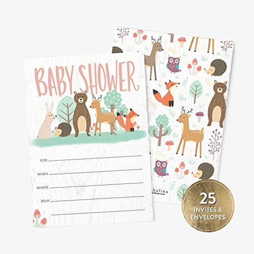 25 Baby Shower Invitations with Envelopes, Cute Animals Woodland Baby Boy or Girl Shower Fill-in Style Invitation, Gender Neutral Baby Shower Invitations