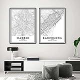 Decoración de pared Mapa de la ciudad de España Barcelona Madrid Carteles Pinturas en lienzo Arte de la pared Impresiones Decoración interior de la casa 19,6'x 27,5' (50x70 cm) x2 Sin marco