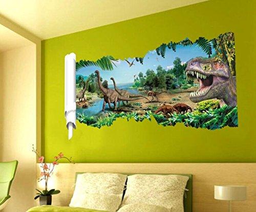 HALLOBO® Wandtattoo Wandaufkleber 3D Dinosaurier Jurassic Park Wandbild Wohnzimmer Schlafzimmer Deko Kinderzimmer Babyzimmer Kinder Jungen