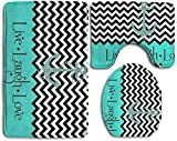 Clothes socks Live Love Laugh in Turquoise Colorblock Chevron with Anchor 3-Piece Soft Bath Rug Set Includes Bathroom Mat Contour Rug Lid Toilet Cover Home Decorative Doormat
