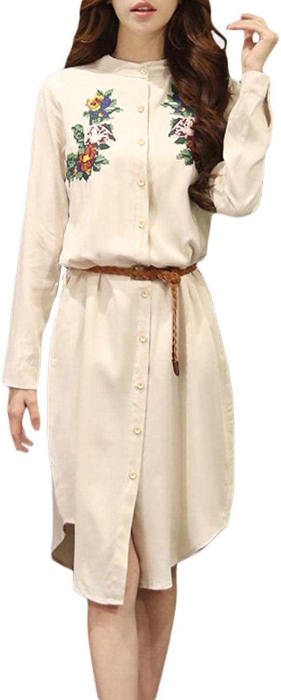 Belt Vintage Flower Embroidery Linen Stand Collar Button Women Dress