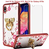 Best Share for Samsung Galaxy A10 Case & Tempered Glass Screen Protector, Crystal Soft Clear Silicone Back Slim Fit Bling Case for Girls Kickstand Cover & Flexible Metal Ring Holder Grip, Butterfly