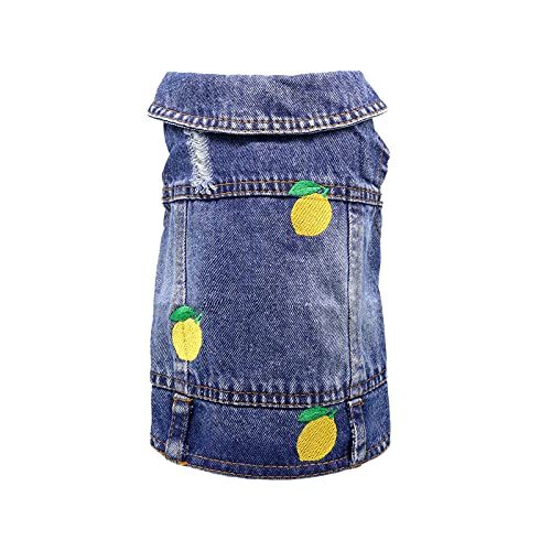 QTART Small Dog Clothes Denim Dog Jacket Girl Boy Puppy Shirt Yorkie Jeans Outfit Cute Pet Vest for Chihuahua, French Bulldog, Cats, S, Lemon